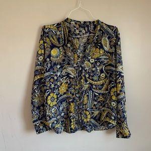 EUC Lands End size 18 Blue yellow blouse paisley